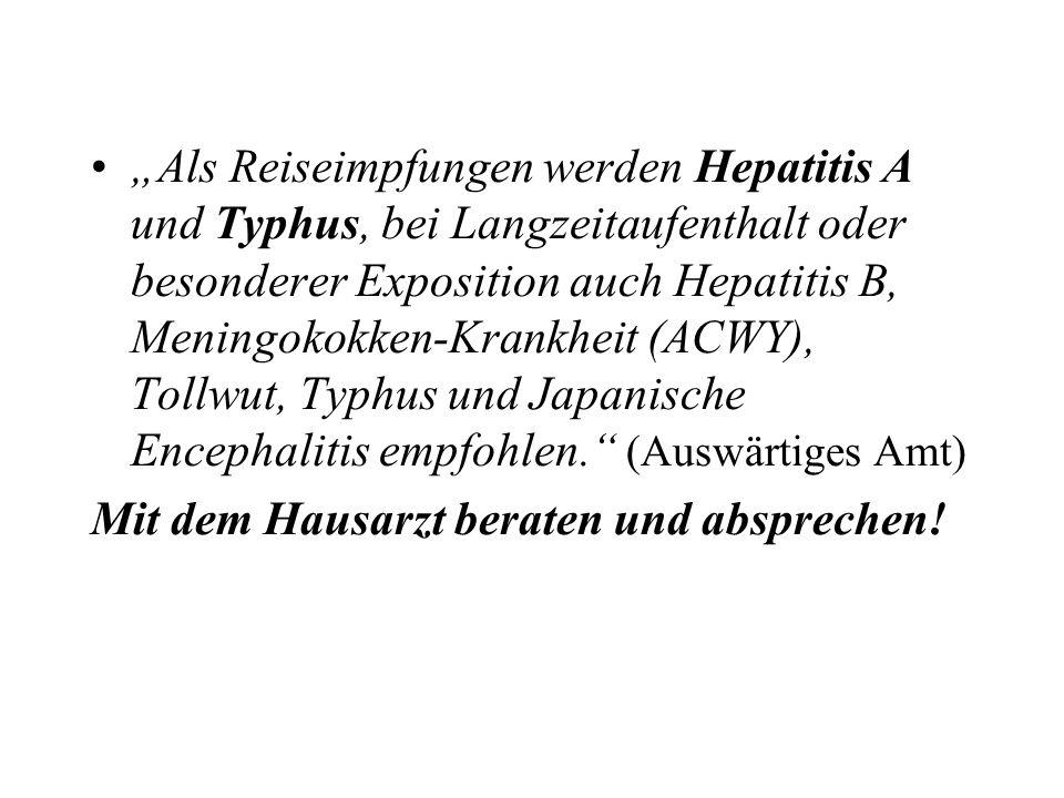 Als Reiseimpfungen werden Hepatitis A und Typhus, bei Langzeitaufenthalt oder besonderer Exposition auch Hepatitis B, Meningokokken-Krankheit (ACWY),
