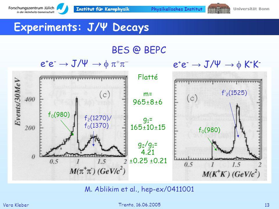Institut für Kernphysik Vera Kleber13 Trento, 16.06.2005 Universität Bonn Physikalisches Institut Experiments: J/Ψ Decays BES @ BEPC e + e - J/Ψ e + e