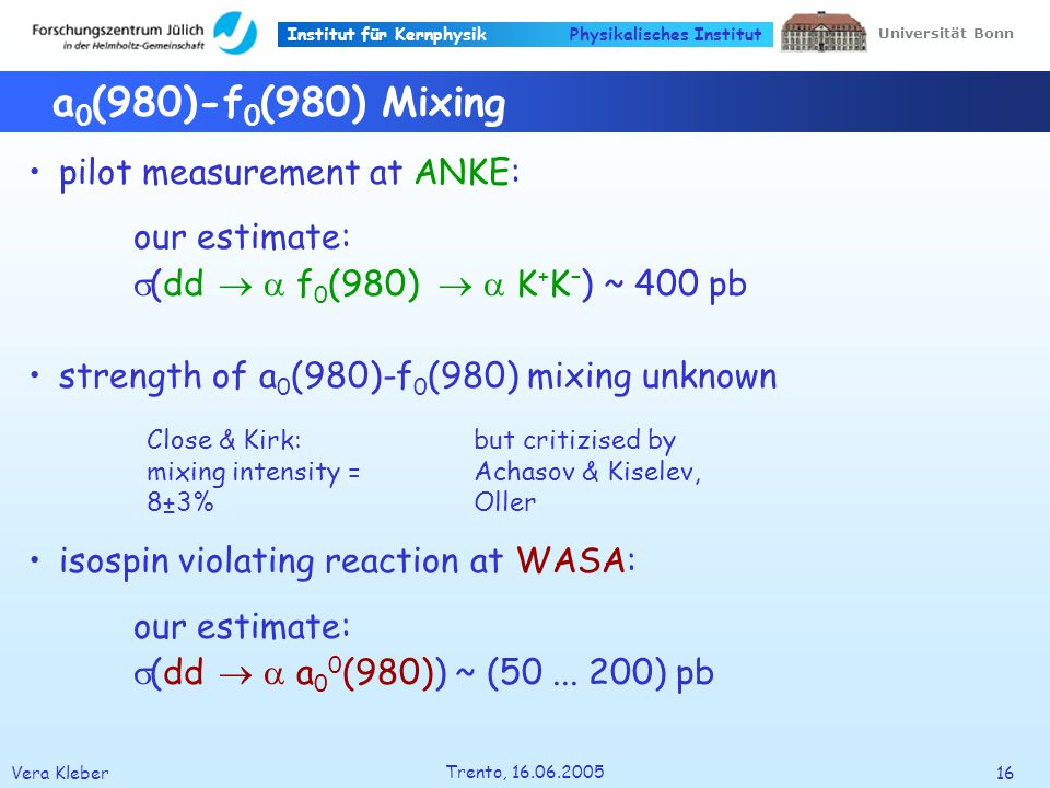 Institut für Kernphysik Vera Kleber16 Trento, Universität Bonn Physikalisches Institut a 0 (980)-f 0 (980) Mixing pilot measurement at ANKE: our estimate: (dd f 0 (980) K + K – ) ~ 400 pb strength of a 0 (980)-f 0 (980) mixing unknown isospin violating reaction at WASA: our estimate: (dd a 0 0 (980)) ~ (50...