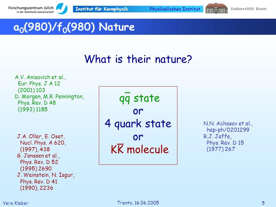 Institut für Kernphysik Vera Kleber6 Trento, 16.06.2005 Universität Bonn Physikalisches Institut The a 0 (980) Resonance a 0 (980) I G (J PC )1 - 0 ++ Mass984.7 ± 1.2 [MeV] Width 50 – 100 [MeV] Decays dominant seen KK seen PDG, S.
