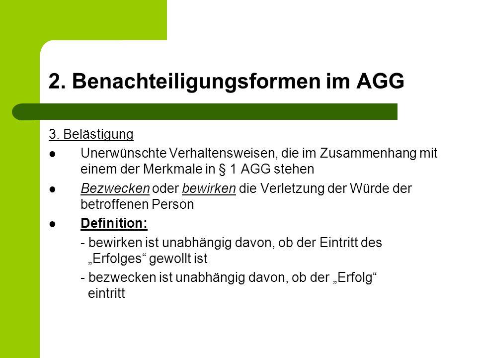 2.Benachteiligungsformen im AGG 3.
