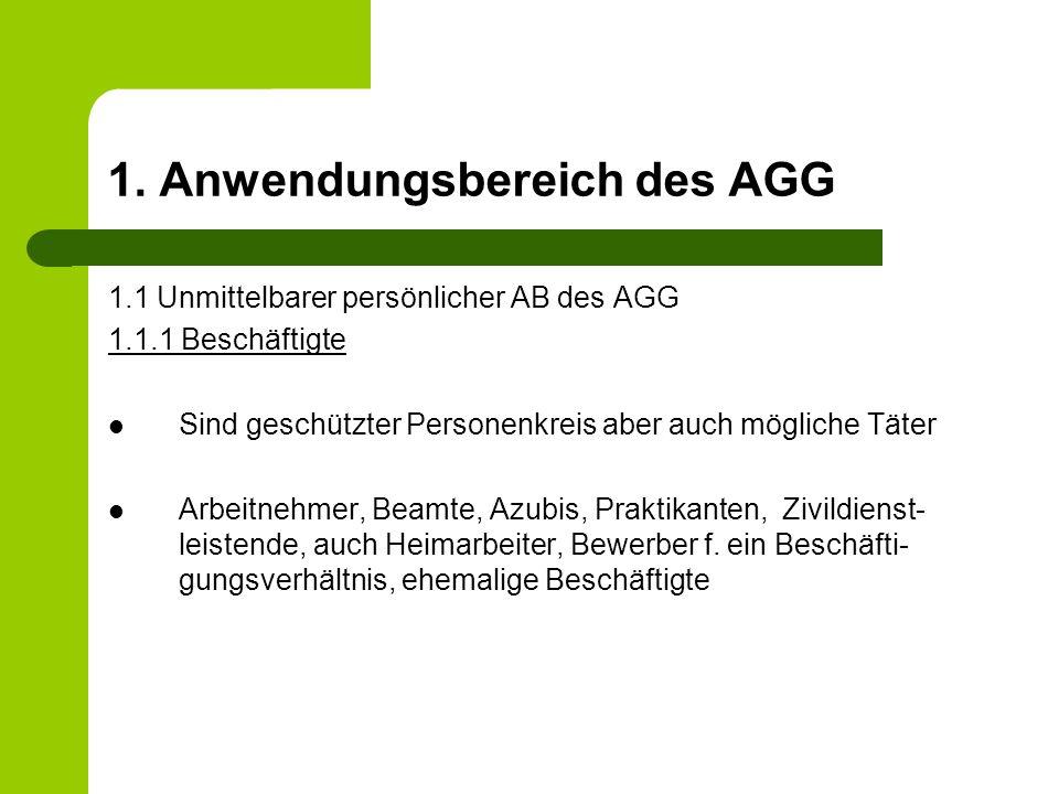 3.Benachteiligungsmerkmale nach dem AGG 1.