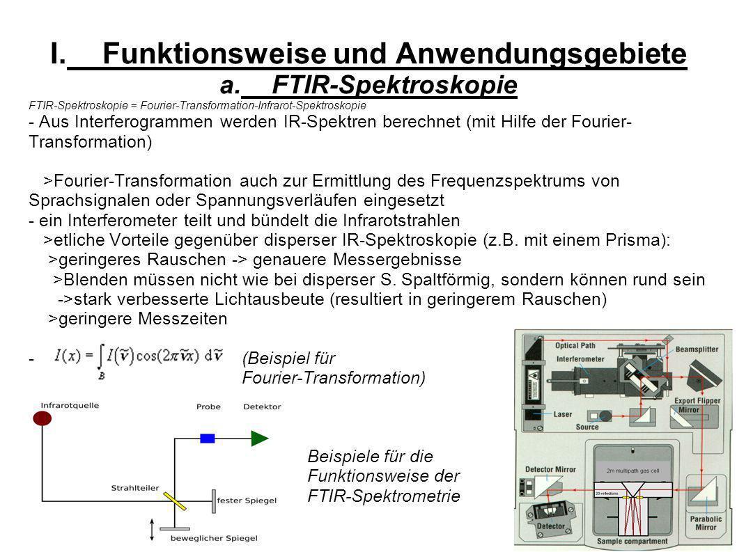 I.Funktionsweise und Anwendungsgebiete a.FTIR-Spektroskopie FTIR-Spektroskopie = Fourier-Transformation-Infrarot-Spektroskopie - Aus Interferogrammen werden IR-Spektren berechnet (mit Hilfe der Fourier- Transformation) >Fourier-Transformation auch zur Ermittlung des Frequenzspektrums von Sprachsignalen oder Spannungsverläufen eingesetzt - ein Interferometer teilt und bündelt die Infrarotstrahlen >etliche Vorteile gegenüber disperser IR-Spektroskopie (z.B.