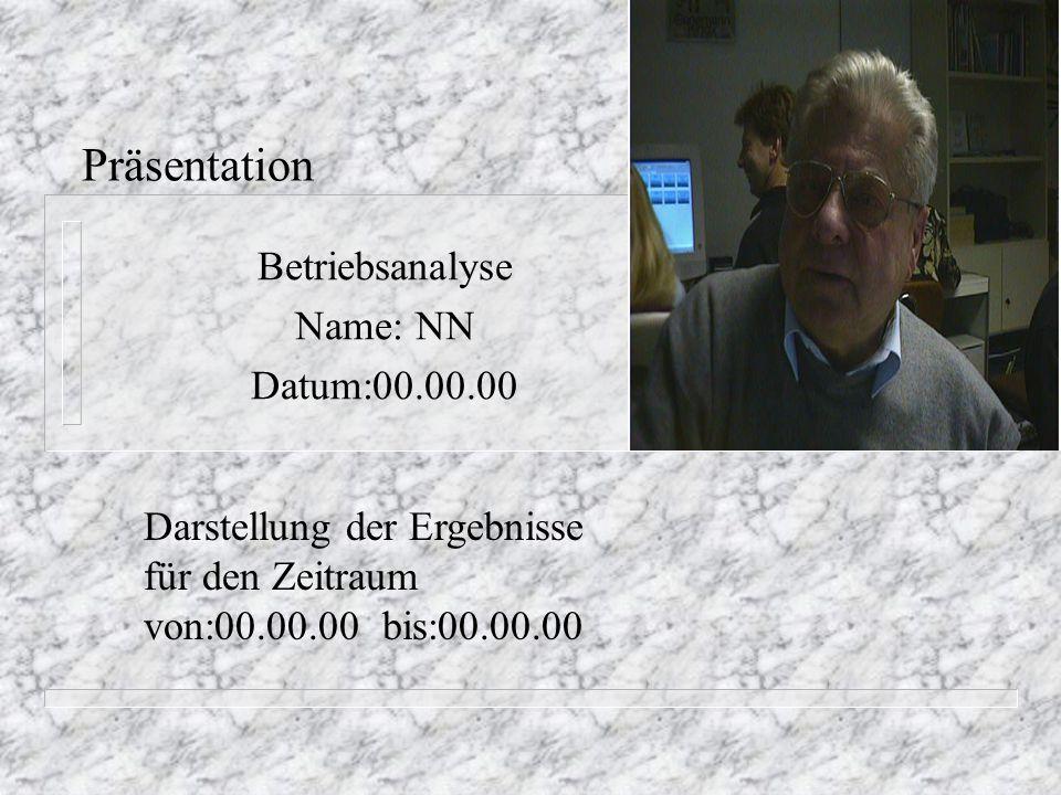 Präsentation Betriebsanalyse Name: NN Datum:00.00.00 Darstellung der Ergebnisse für den Zeitraum von:00.00.00 bis:00.00.00