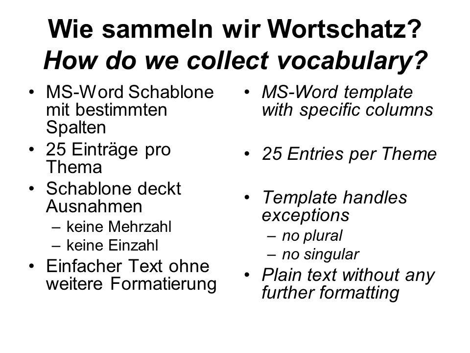 Wie sammeln wir Wortschatz? How do we collect vocabulary? MS-Word Schablone mit bestimmten Spalten 25 Einträge pro Thema Schablone deckt Ausnahmen –ke