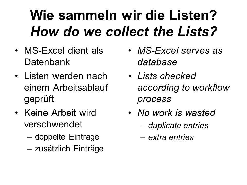 Wie sammeln wir die Listen? How do we collect the Lists? MS-Excel dient als Datenbank Listen werden nach einem Arbeitsablauf geprüft Keine Arbeit wird