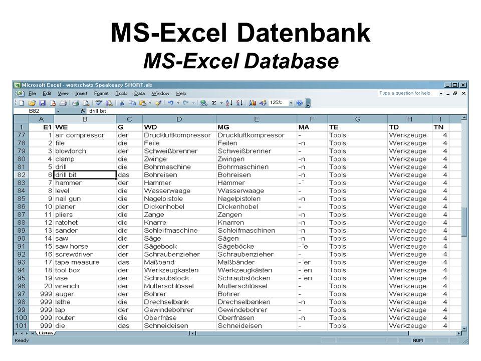 MS-Excel Datenbank MS-Excel Database