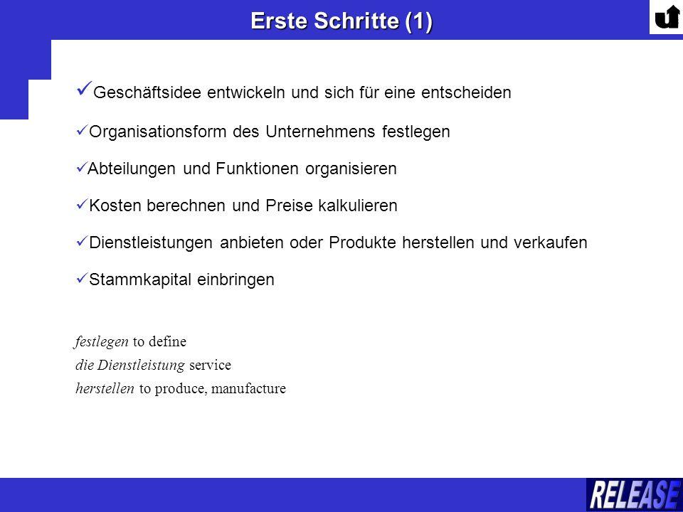 Erste Schritte (1) Geschäftsidee entwickeln und sich für eine entscheiden Organisationsform des Unternehmens festlegen Abteilungen und Funktionen orga
