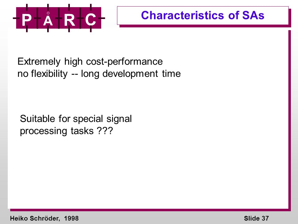 Heiko Schröder, 1998Slide 37 P A R C Characteristics of SAs Extremely high cost-performance no flexibility -- long development time Suitable for special signal processing tasks