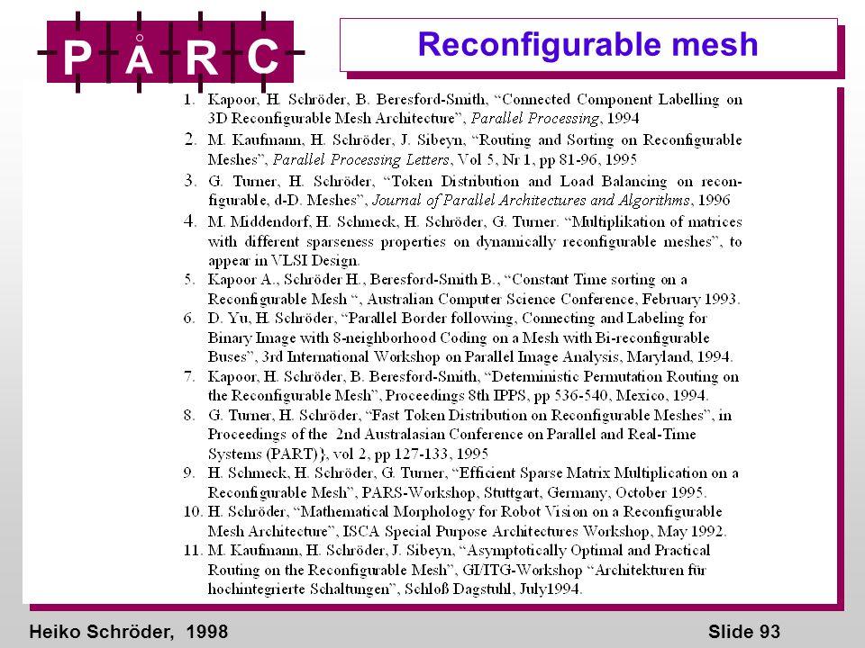 Heiko Schröder, 1998Slide 93 P A R C Reconfigurable mesh