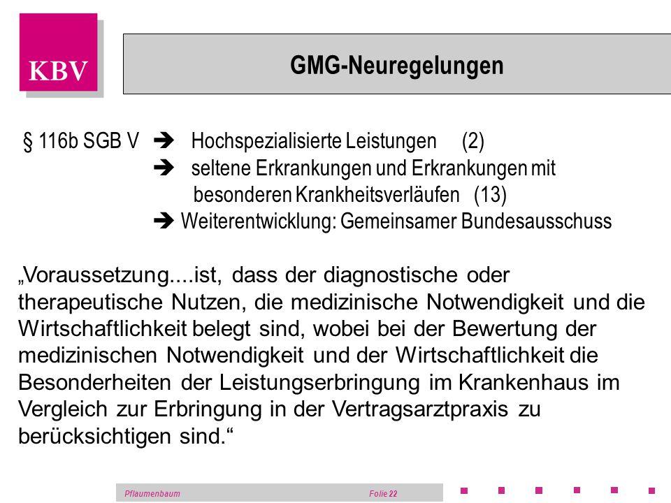PflaumenbaumFolie 21 GMG-Neuregelungen Integrierte Versorgung sektorübergreifend 1% Abschlag von GV und KH-Budget bei Überschreitung in 2004 – 2006 ka
