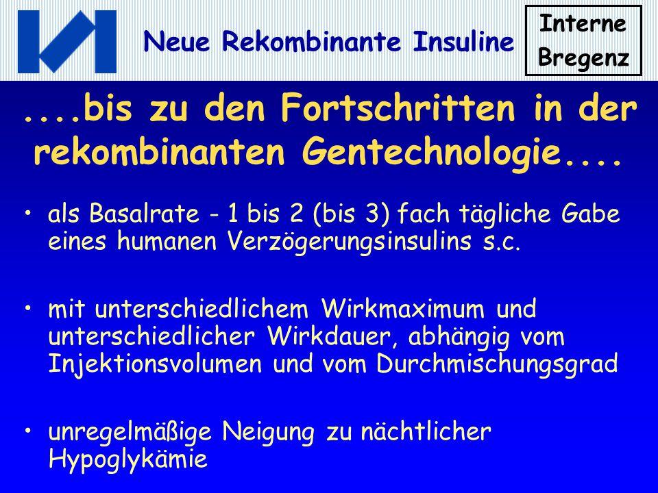 Interne Bregenz Neue Rekombinante Insuline....bis zu den Fortschritten in der rekombinanten Gentechnologie.... als Basalrate - 1 bis 2 (bis 3) fach tä
