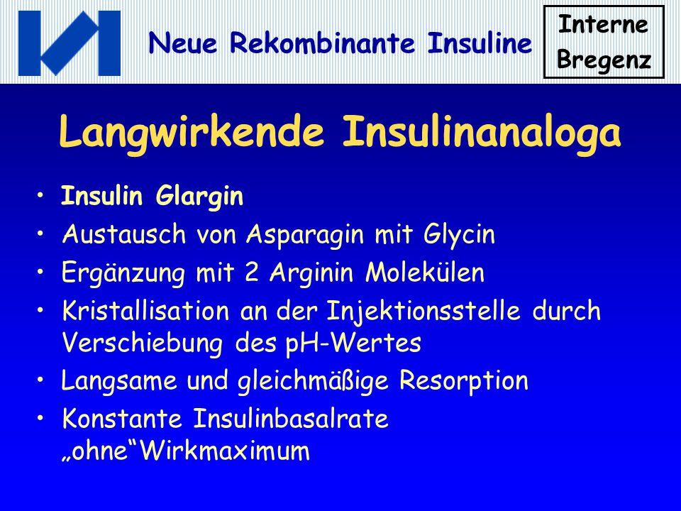 Interne Bregenz Neue Rekombinante Insuline Langwirkende Insulinanaloga Insulin Glargin Austausch von Asparagin mit Glycin Ergänzung mit 2 Arginin Mole