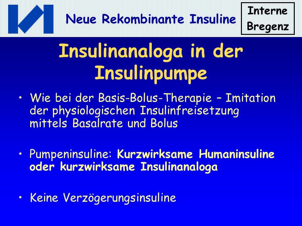 Interne Bregenz Neue Rekombinante Insuline Insulinanaloga in der Insulinpumpe Wie bei der Basis-Bolus-Therapie – Imitation der physiologischen Insulin