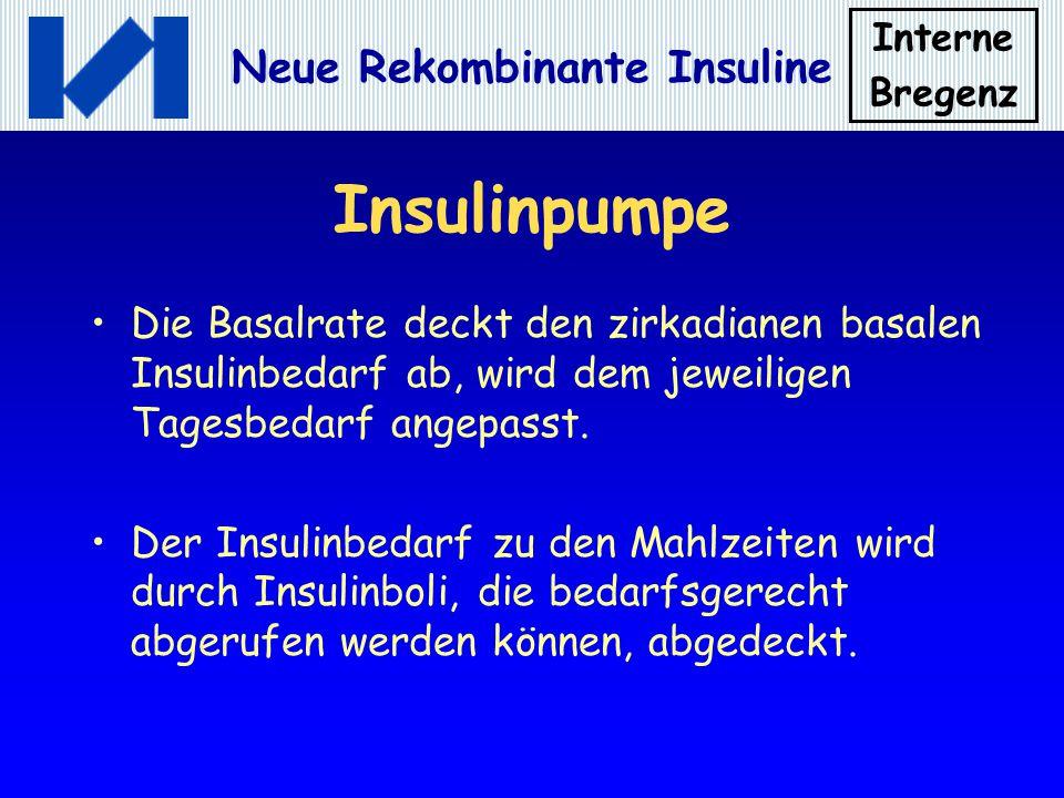 Interne Bregenz Neue Rekombinante Insuline Insulinpumpe Die Basalrate deckt den zirkadianen basalen Insulinbedarf ab, wird dem jeweiligen Tagesbedarf