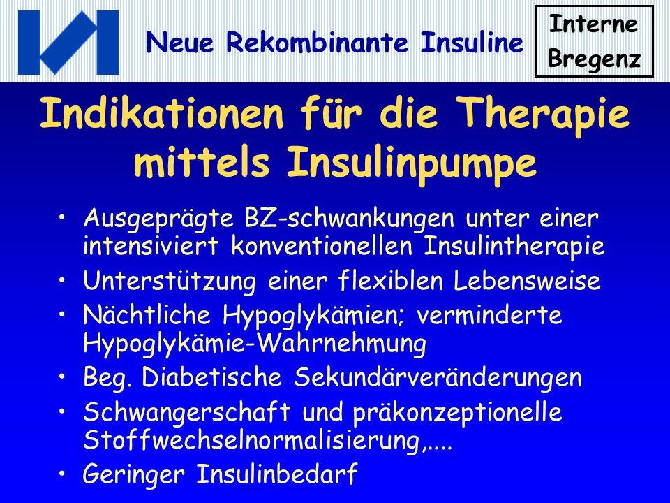 Interne Bregenz Neue Rekombinante Insuline Indikationen für die Therapie mittels Insulinpumpe Ausgeprägte BZ-schwankungen unter einer intensiviert kon
