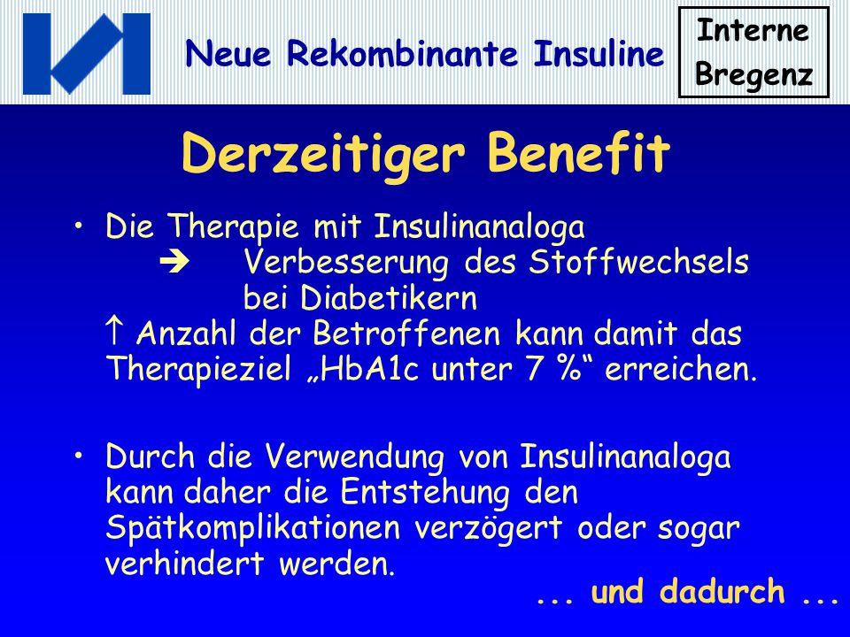 Interne Bregenz Neue Rekombinante Insuline Derzeitiger Benefit Die Therapie mit Insulinanaloga Verbesserung des Stoffwechsels bei Diabetikern Anzahl d