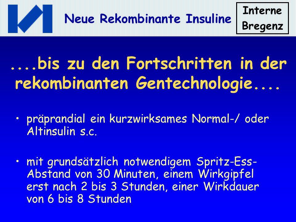 Interne Bregenz Neue Rekombinante Insuline....bis zu den Fortschritten in der rekombinanten Gentechnologie.... präprandial ein kurzwirksames Normal-/