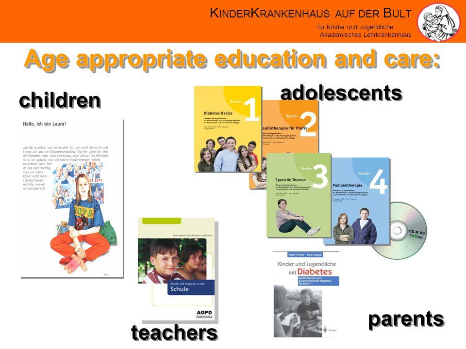 K INDER K RANKENHAUS AUF DER B ULT für Kinder und Jugendliche Akademisches Lehrkrankenhaus Age appropriate education and care: adolescents parents teachers children
