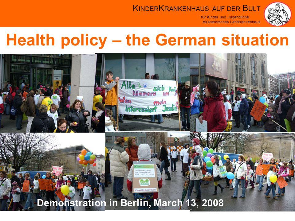 K INDER K RANKENHAUS AUF DER B ULT für Kinder und Jugendliche Akademisches Lehrkrankenhaus Health policy – the German situation Demonstration in Berlin, March 13, 2008