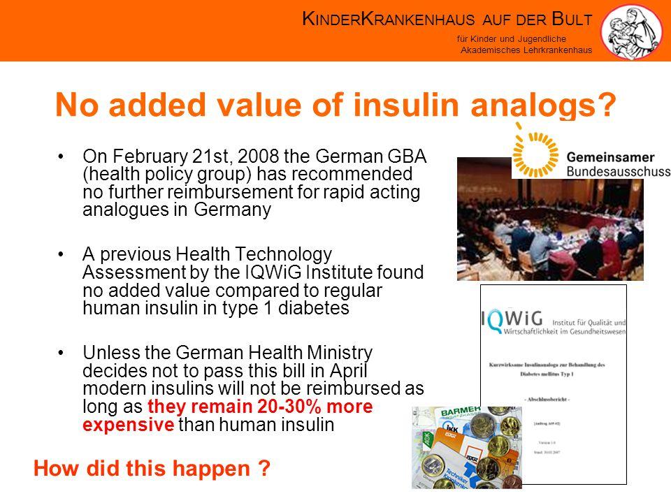 K INDER K RANKENHAUS AUF DER B ULT für Kinder und Jugendliche Akademisches Lehrkrankenhaus No added value of insulin analogs.