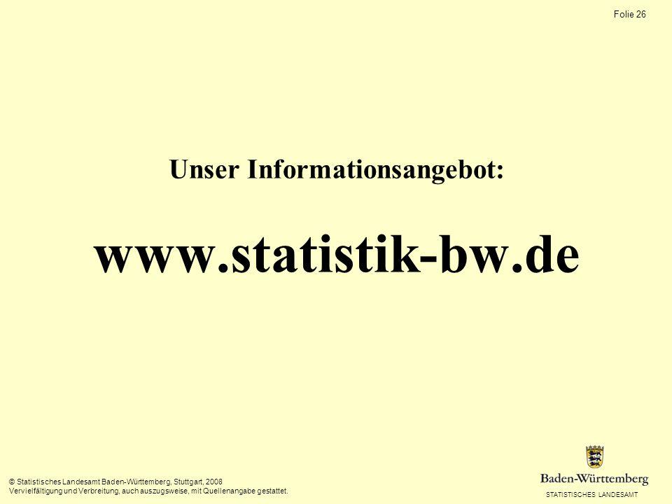 STATISTISCHES LANDESAMT Folie 26 © Statistisches Landesamt Baden-Württemberg, Stuttgart, 2008 Vervielfältigung und Verbreitung, auch auszugsweise, mit