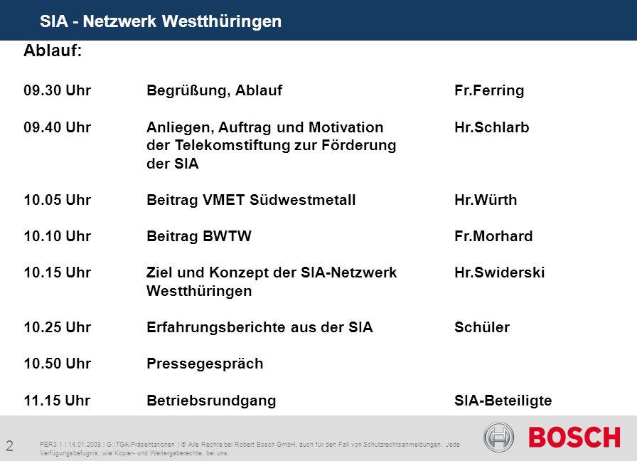 2 SIA - Netzwerk Westthüringen PER3.1 | 14.01.2008 | G:\TGA\Präsentationen | © Alle Rechte bei Robert Bosch GmbH, auch für den Fall von Schutzrechtsanmeldungen.