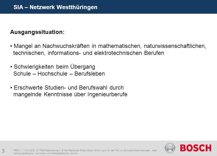3 SIA – Netzwerk Westthüringen PER3.1 | 14.01.2008 | G:\TGA\Präsentationen | © Alle Rechte bei Robert Bosch GmbH, auch für den Fall von Schutzrechtsanmeldungen.