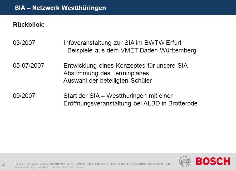 4 SIA – Netzwerk Westthüringen PER3.1 | 14.01.2008 | G:\TGA\Präsentationen | © Alle Rechte bei Robert Bosch GmbH, auch für den Fall von Schutzrechtsanmeldungen.