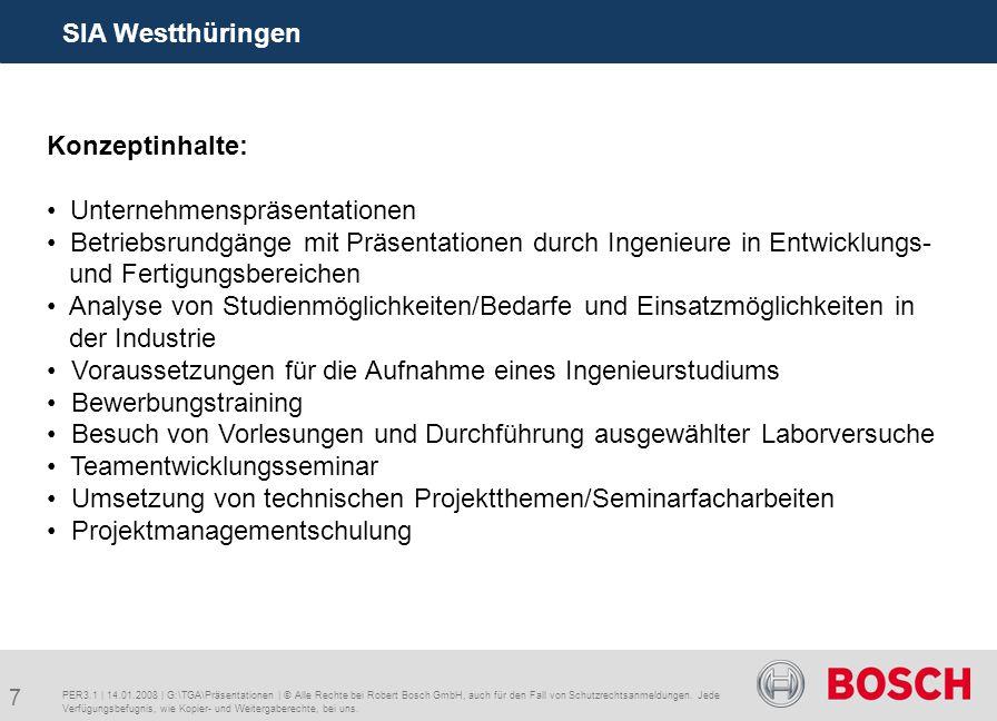 7 SIA Westthüringen PER3.1 | 14.01.2008 | G:\TGA\Präsentationen | © Alle Rechte bei Robert Bosch GmbH, auch für den Fall von Schutzrechtsanmeldungen.