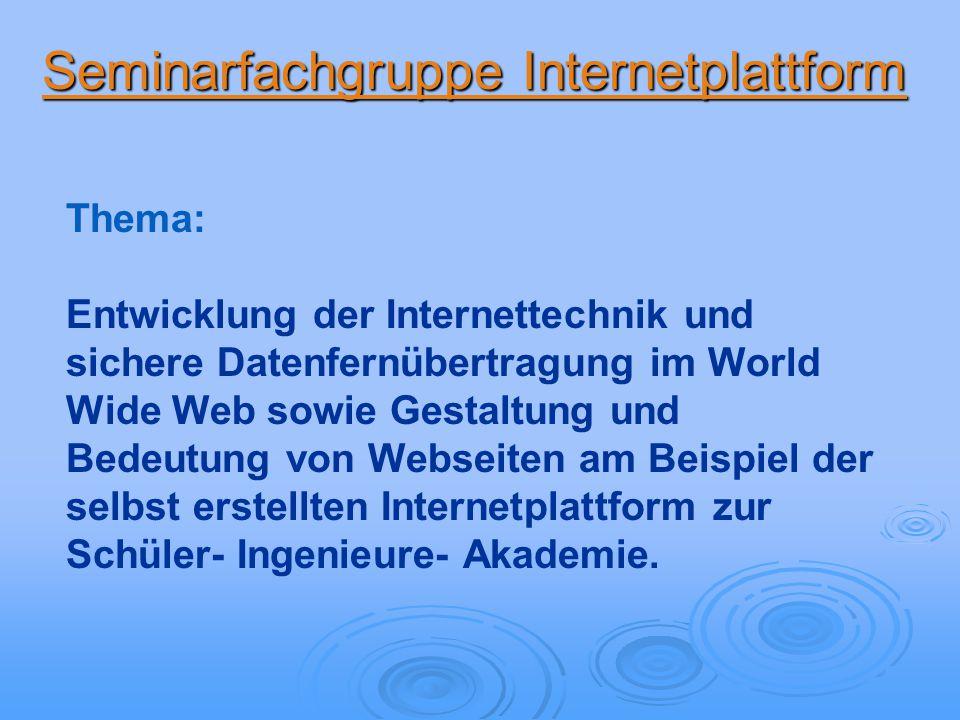 Thema: Entwicklung der Internettechnik und sichere Datenfernübertragung im World Wide Web sowie Gestaltung und Bedeutung von Webseiten am Beispiel der selbst erstellten Internetplattform zur Schüler- Ingenieure- Akademie.