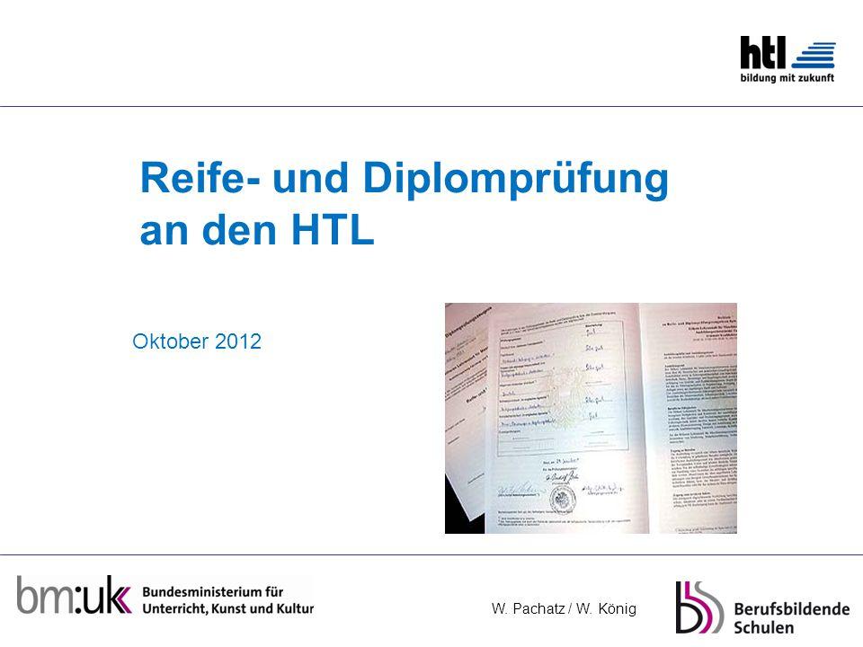 W. Pachatz / W. König Reife- und Diplomprüfung an den HTL Oktober 2012