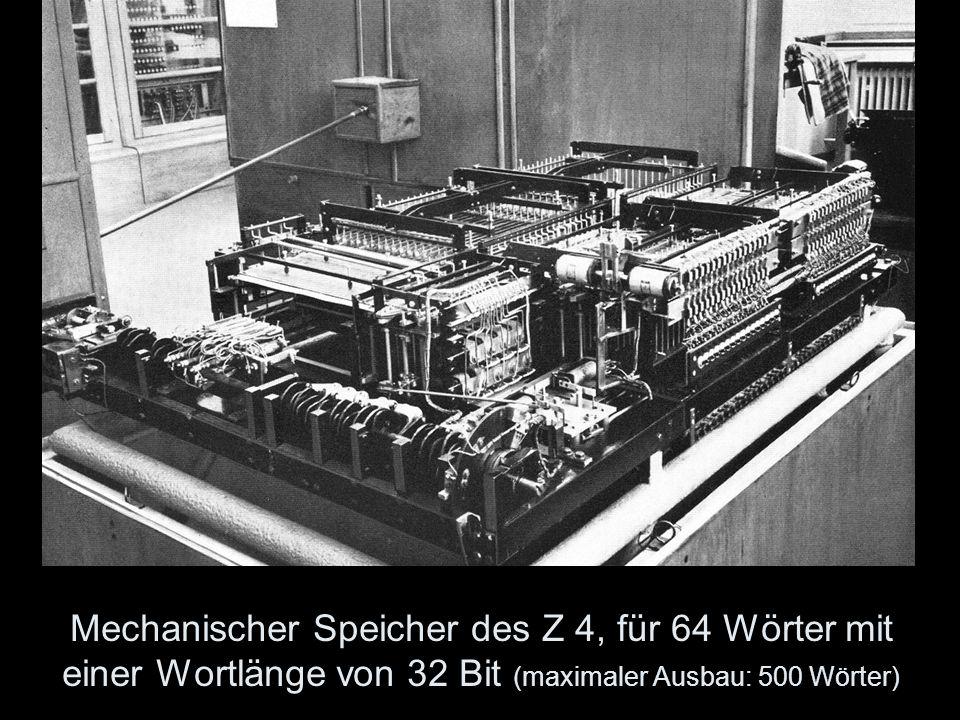 Mechanischer Speicher des Z 4, für 64 Wörter mit einer Wortlänge von 32 Bit (maximaler Ausbau: 500 Wörter)