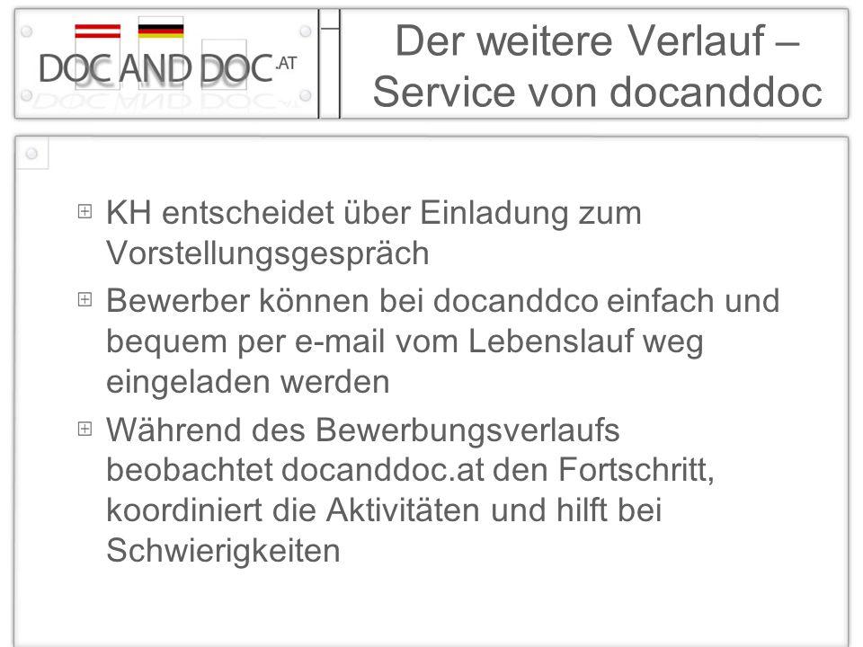 Der weitere Verlauf – Service von docanddoc KH entscheidet über Einladung zum Vorstellungsgespräch Bewerber können bei docanddco einfach und bequem pe