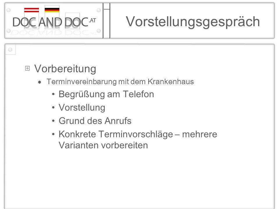Vorstellungsgespräch Vorbereitung Terminvereinbarung mit dem Krankenhaus Begrüßung am Telefon Vorstellung Grund des Anrufs Konkrete Terminvorschläge –