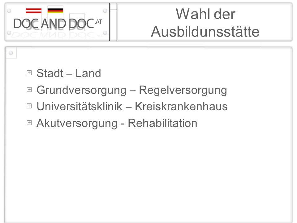 Wahl der Ausbildunsstätte Stadt – Land Grundversorgung – Regelversorgung Universitätsklinik – Kreiskrankenhaus Akutversorgung - Rehabilitation