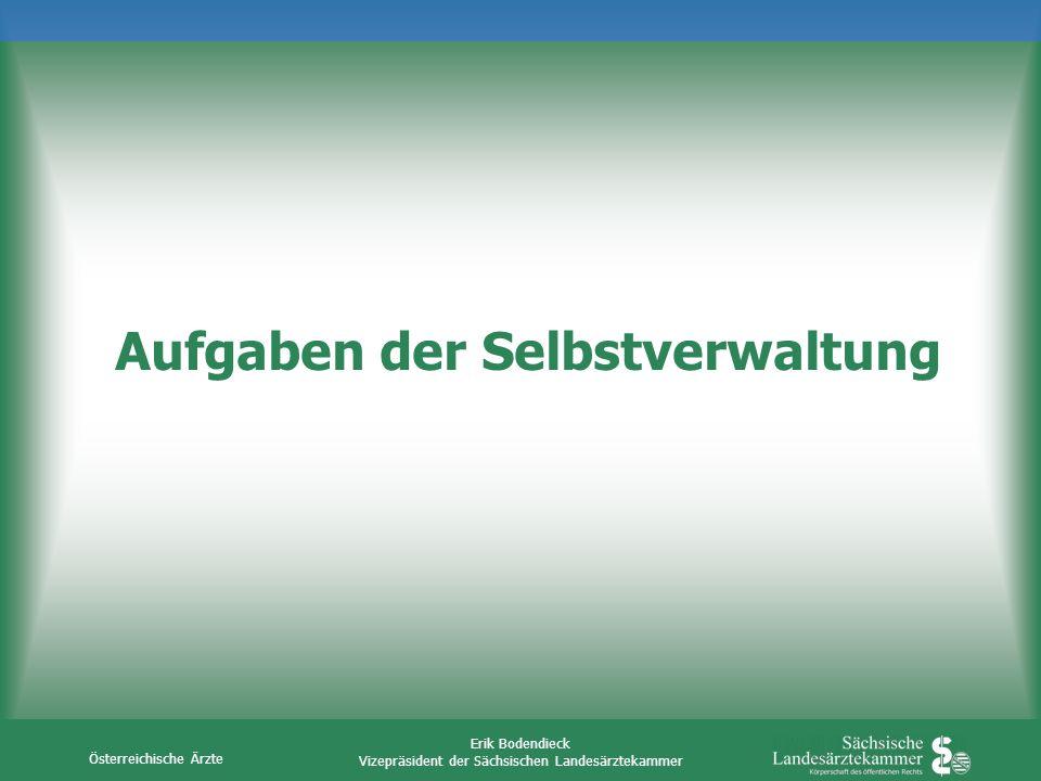 Österreichische Ärzte Erik Bodendieck Vizepräsident der Sächsischen Landesärztekammer Aufgaben der Selbstverwaltung