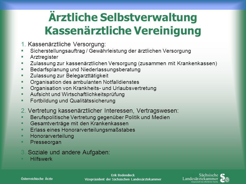 Österreichische Ärzte Erik Bodendieck Vizepräsident der Sächsischen Landesärztekammer Ärztliche Selbstverwaltung Kassenärztliche Vereinigung 1. Kassen