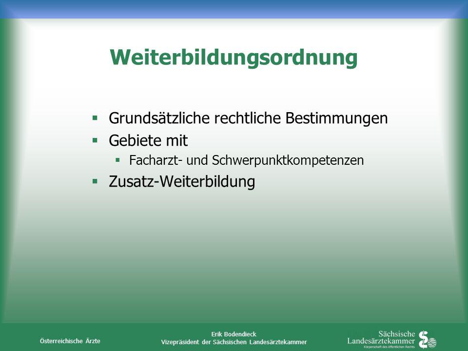 Österreichische Ärzte Erik Bodendieck Vizepräsident der Sächsischen Landesärztekammer Weiterbildungsordnung Grundsätzliche rechtliche Bestimmungen Geb
