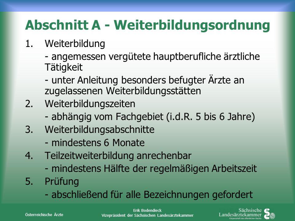 Österreichische Ärzte Erik Bodendieck Vizepräsident der Sächsischen Landesärztekammer Abschnitt A - Weiterbildungsordnung 1.Weiterbildung - angemessen