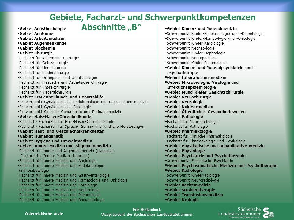 Österreichische Ärzte Erik Bodendieck Vizepräsident der Sächsischen Landesärztekammer Gebiet Anästhesiologie Gebiet Anatomie Gebiet Arbeitsmedizin Geb