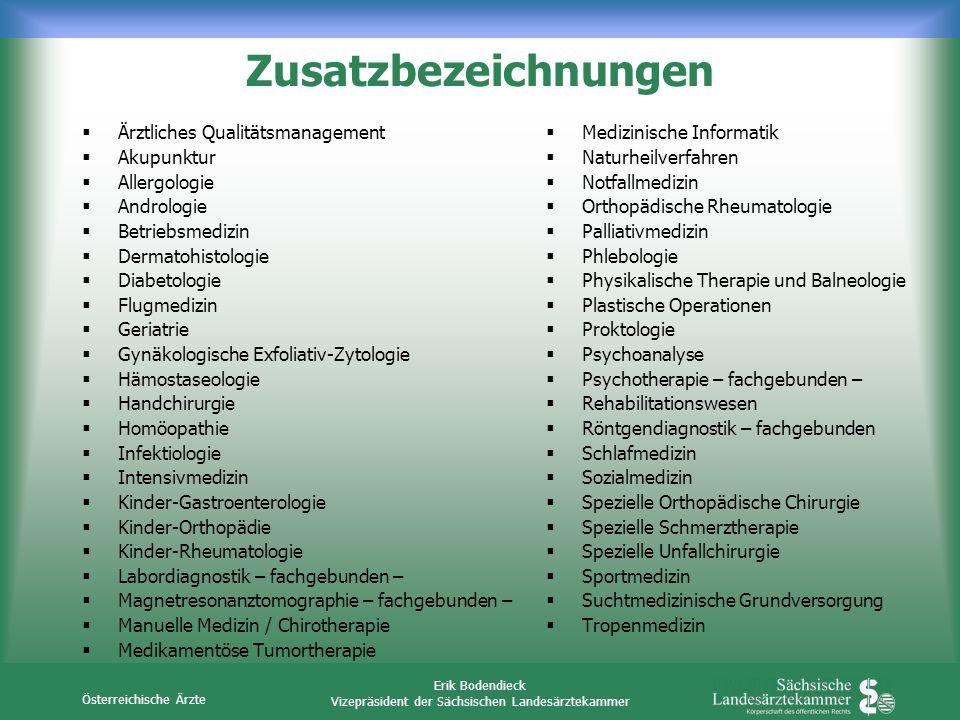 Österreichische Ärzte Erik Bodendieck Vizepräsident der Sächsischen Landesärztekammer Ärztliches Qualitätsmanagement Akupunktur Allergologie Andrologi