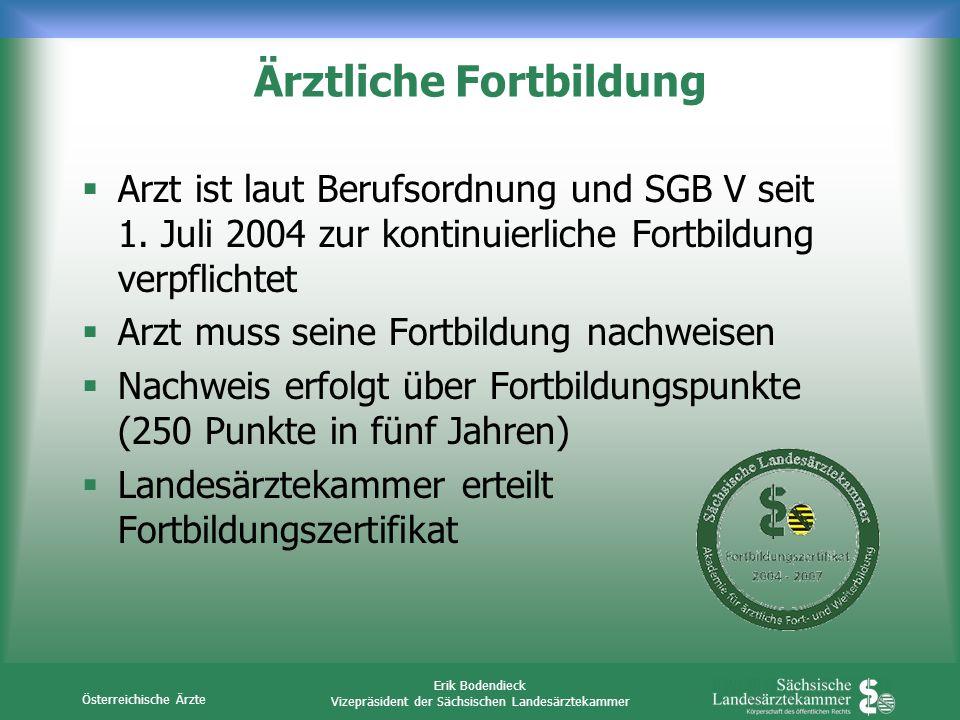 Österreichische Ärzte Erik Bodendieck Vizepräsident der Sächsischen Landesärztekammer Ärztliche Fortbildung Arzt ist laut Berufsordnung und SGB V seit