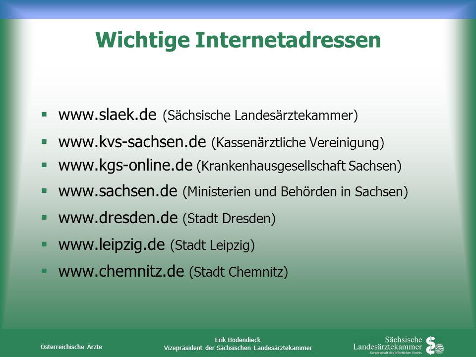 Österreichische Ärzte Erik Bodendieck Vizepräsident der Sächsischen Landesärztekammer Wichtige Internetadressen www.slaek.de (Sächsische Landesärzteka
