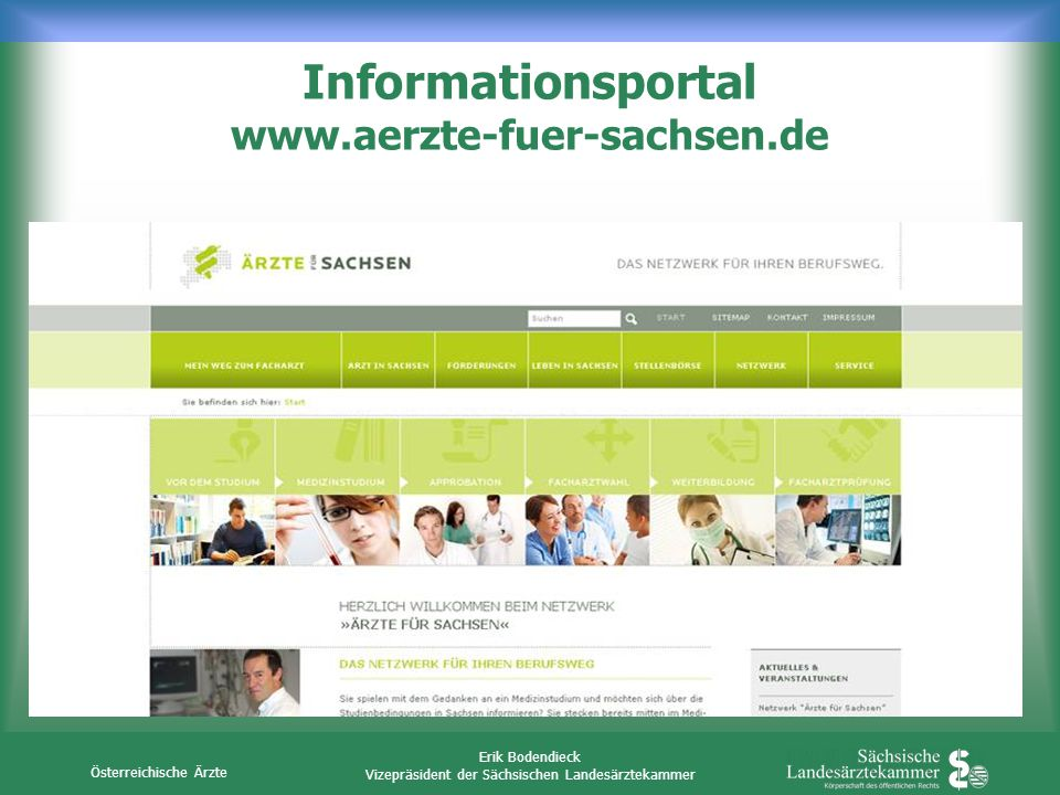 Österreichische Ärzte Erik Bodendieck Vizepräsident der Sächsischen Landesärztekammer Informationsportal www.aerzte-fuer-sachsen.de