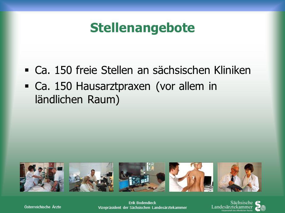 Österreichische Ärzte Erik Bodendieck Vizepräsident der Sächsischen Landesärztekammer Stellenangebote Ca. 150 freie Stellen an sächsischen Kliniken Ca