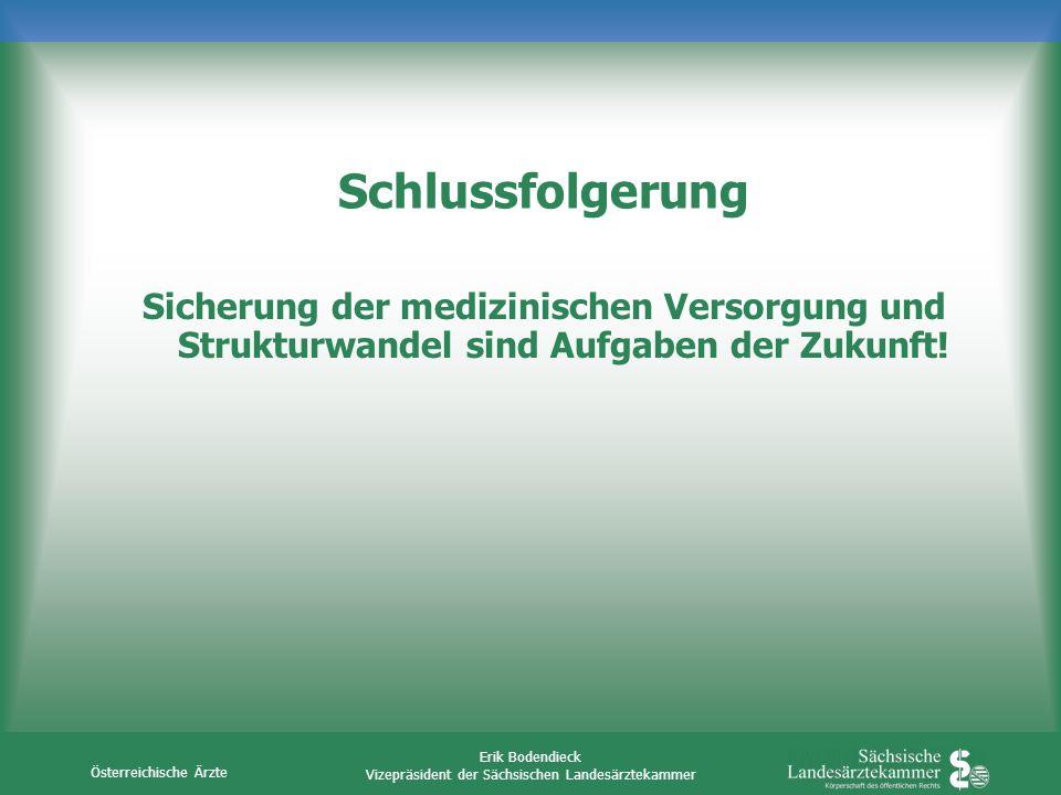 Österreichische Ärzte Erik Bodendieck Vizepräsident der Sächsischen Landesärztekammer Schlussfolgerung Sicherung der medizinischen Versorgung und Stru