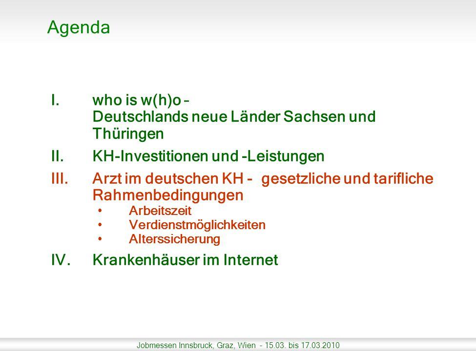 Jobmessen Innsbruck, Graz, Wien - 15.03. bis 17.03.2010 I.who is w(h)o – Deutschlands neue Länder Sachsen und Thüringen II.KH-Investitionen und -Leist