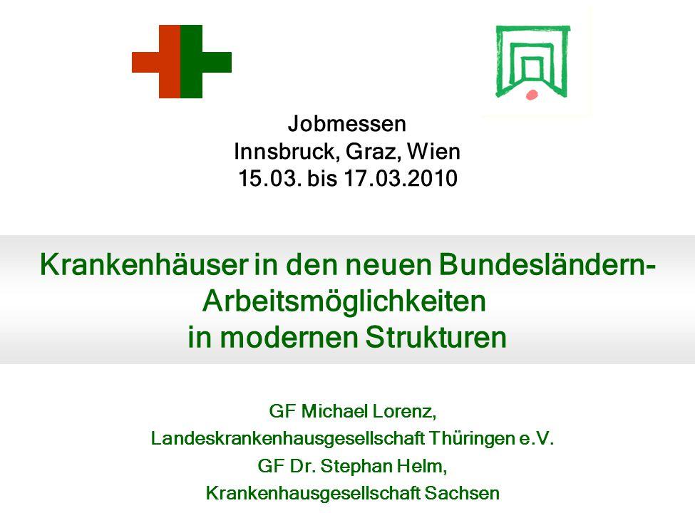 Jobmessen Innsbruck, Graz, Wien 15.03. bis 17.03.2010 GF Michael Lorenz, Landeskrankenhausgesellschaft Thüringen e.V. GF Dr. Stephan Helm, Krankenhaus
