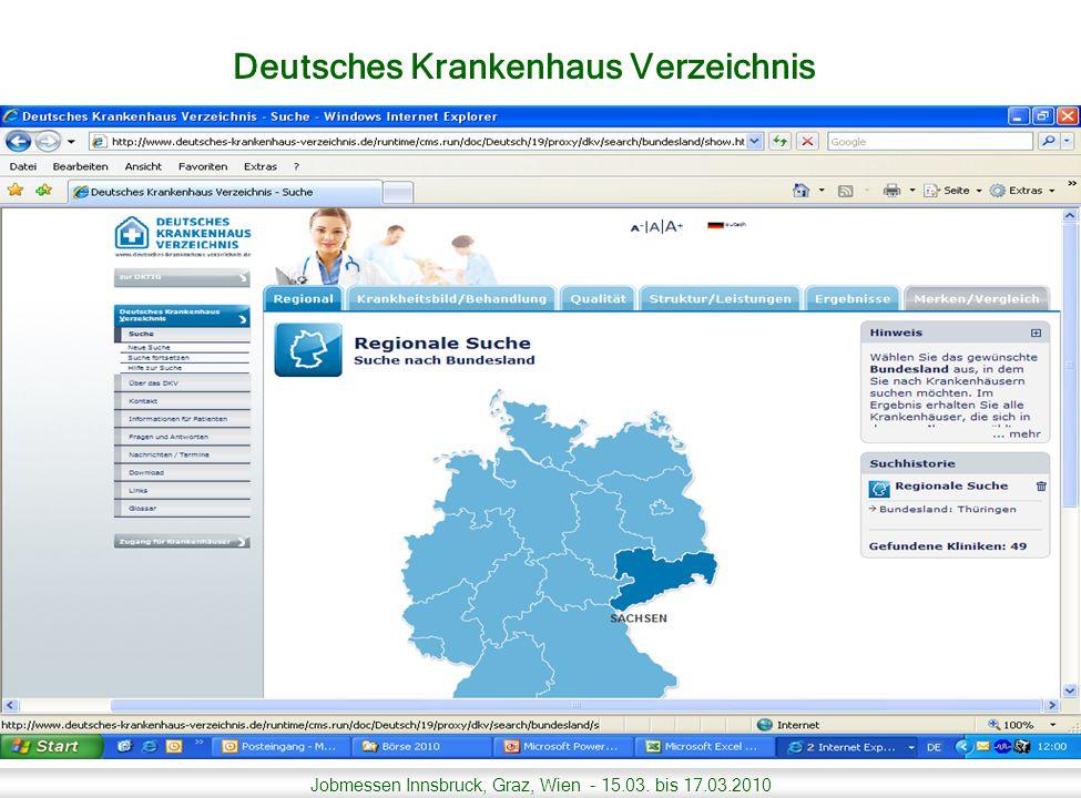 Jobmessen Innsbruck, Graz, Wien - 15.03. bis 17.03.2010 Deutsches Krankenhaus Verzeichnis